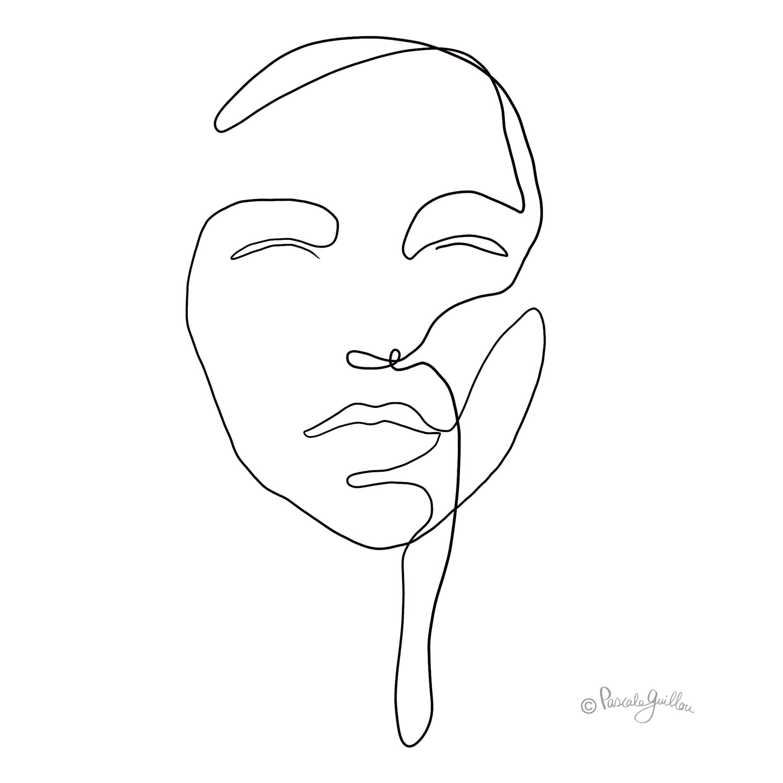 Woman 3 One line portrait ©Pascale Guillou