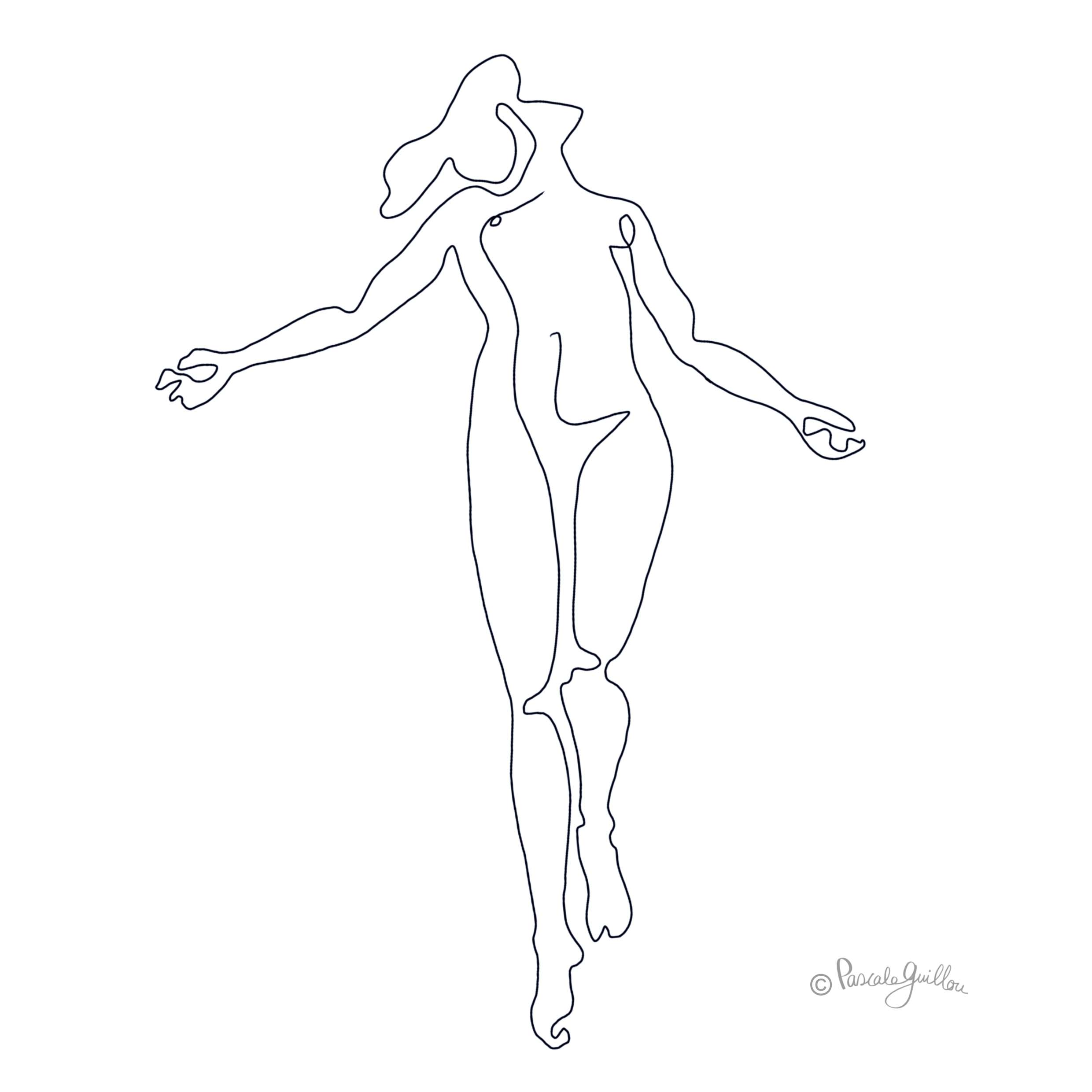 Woman body naked One line Illustration ©Pascale Guillou