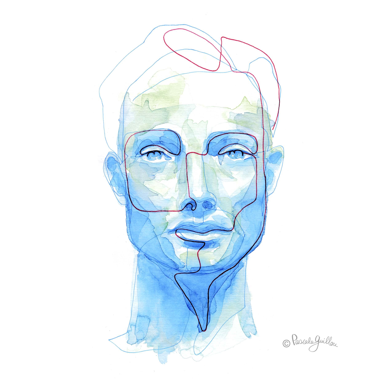 Man Blue 1 One line portrait ©Pascale Guillou