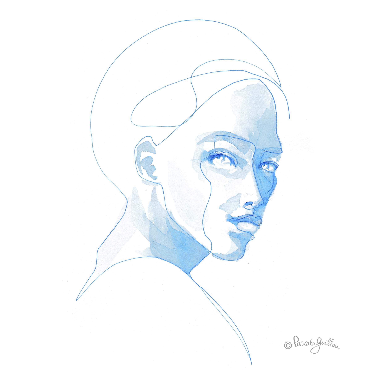 Woman Blue 1 One line portrait ©Pascale Guillou