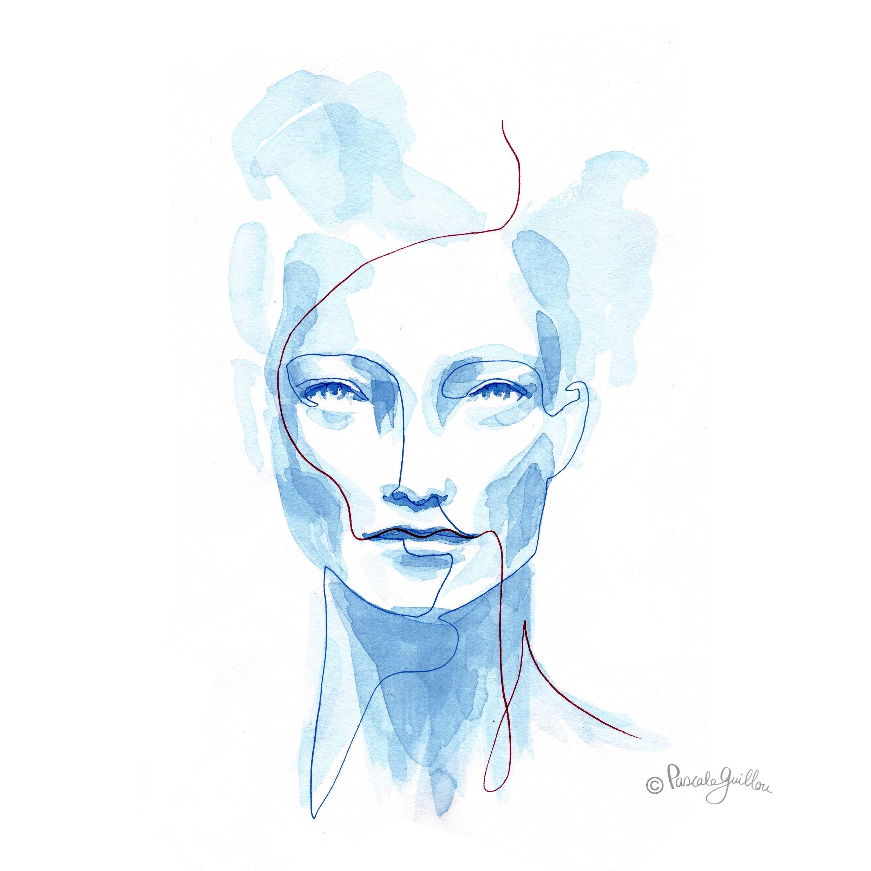Woman Blue 3 One line portrait ©Pascale Guillou