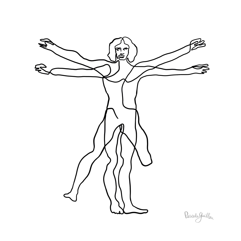 Disability Vitruvian Man Leonardo da Vinci  Editorial Illustration ©Pascale Guillou