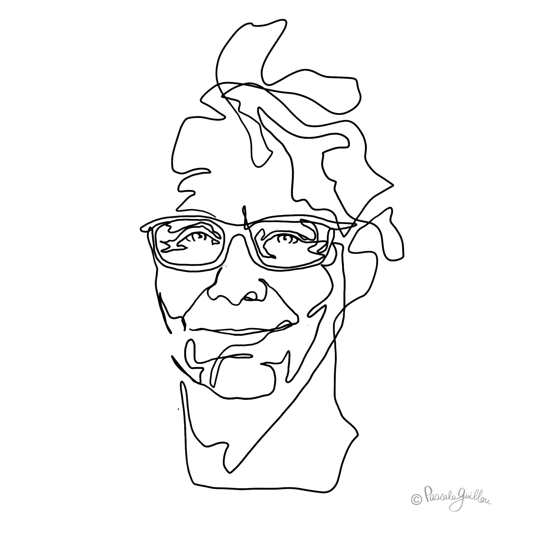Diederick Kraaijeveld one line Portrait ©Pascale Guillou Illustration - Single Line - Continuous Line Drawing