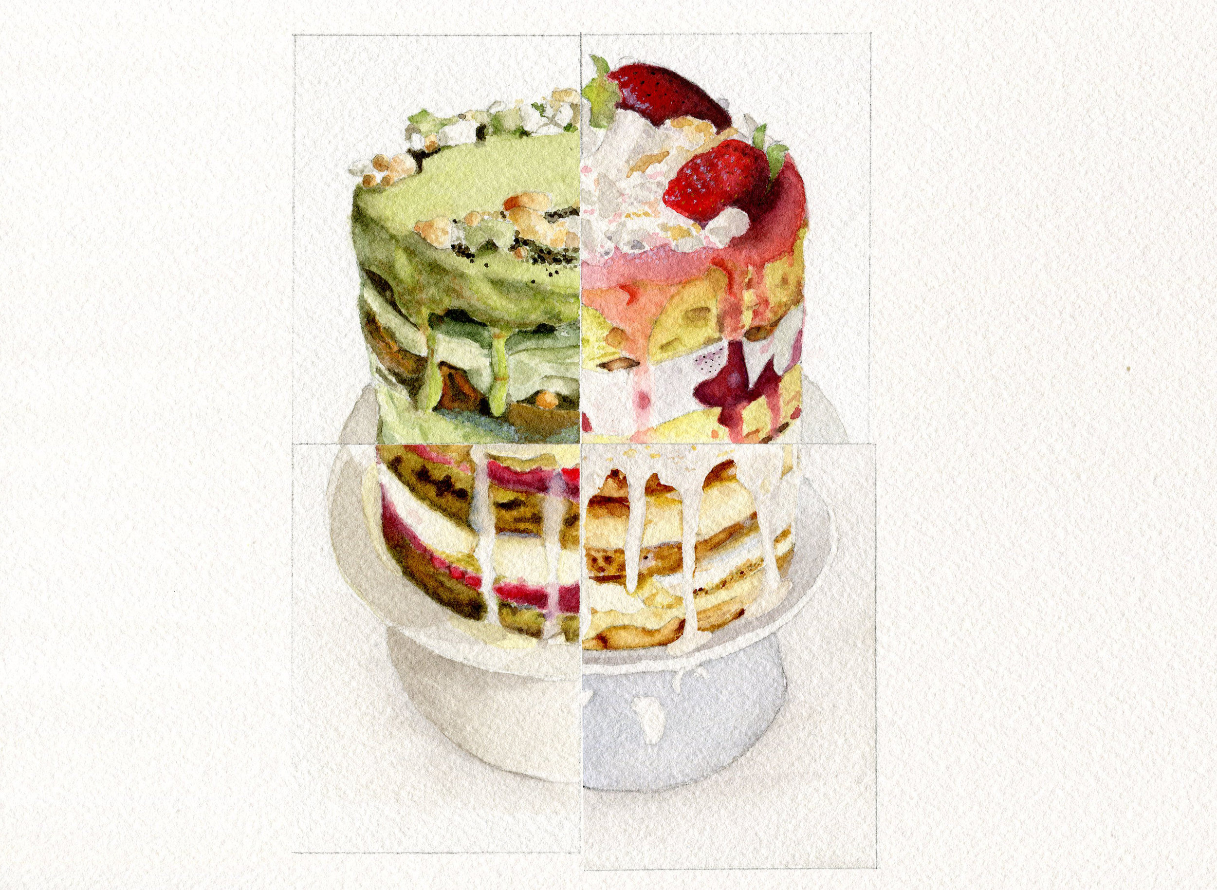 Reconstructed deconstructed naked layer cake