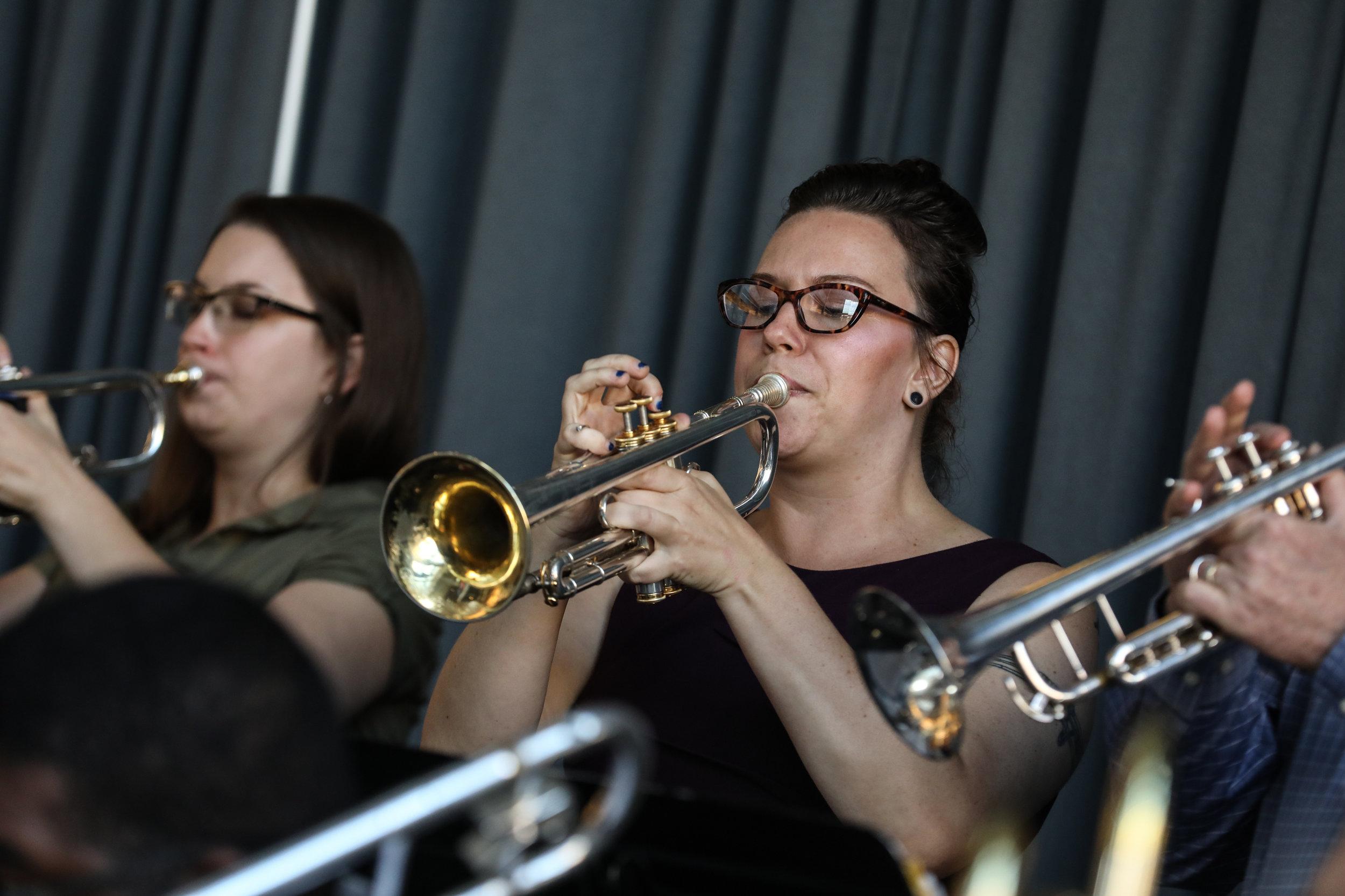 Jen Siukola (left), Lexi Signor (right), trumpets