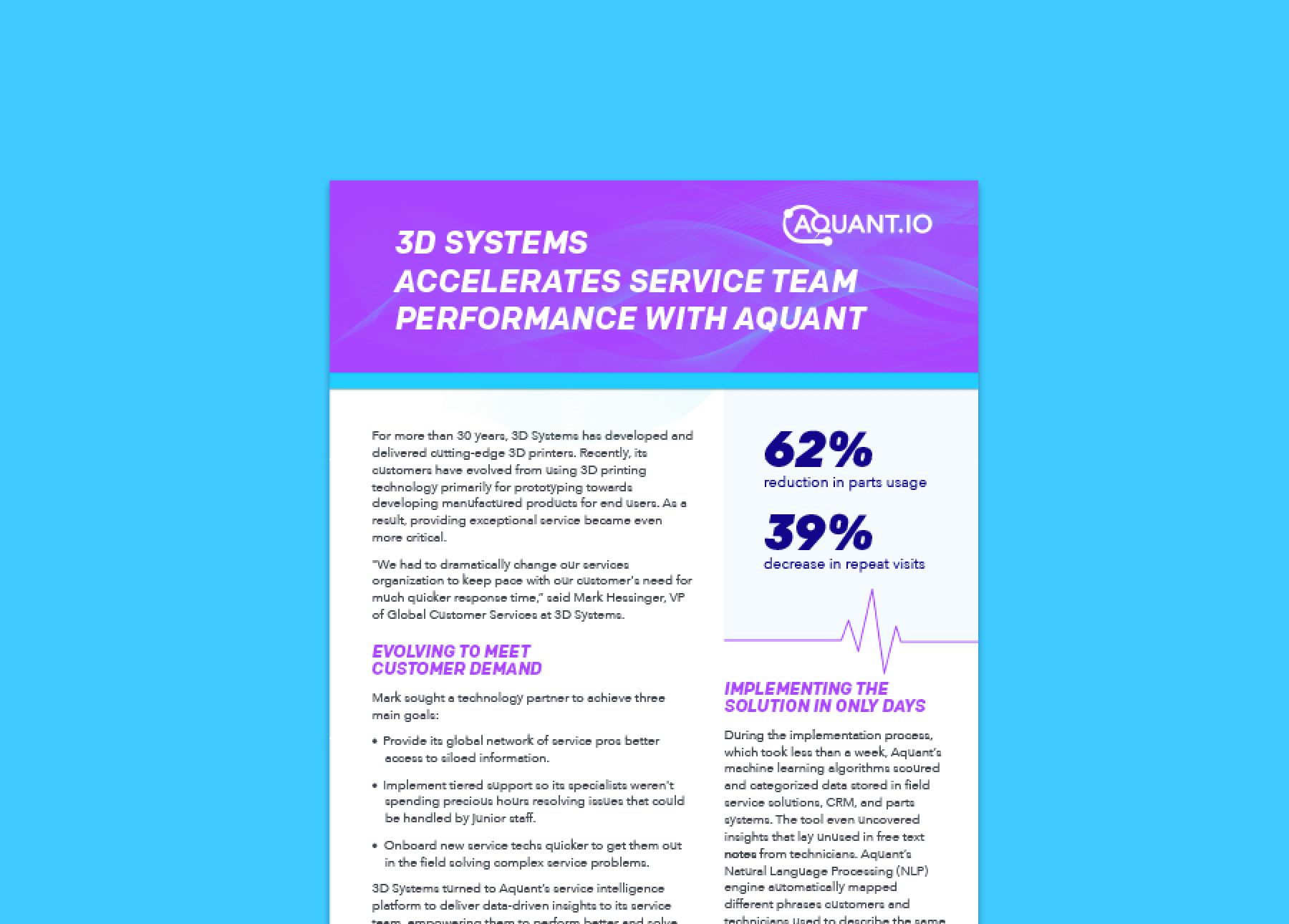 Case Study: - 3D Systems Accelerates service Team Performance with Aquant
