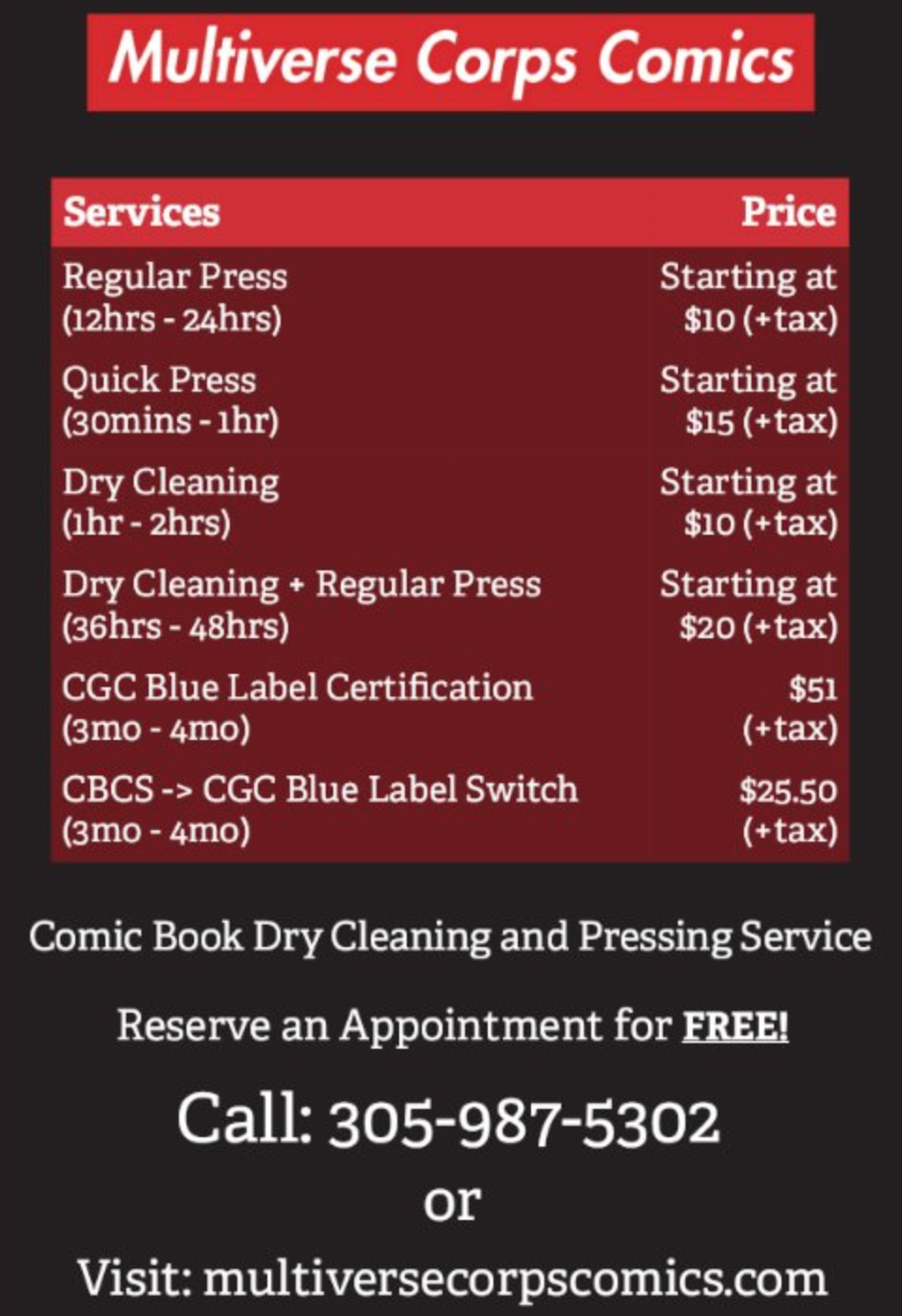 Comic Book Pressing and Dry Cleaning Services Starts October 16th. - In store walk-ins are welcome and available as well.
