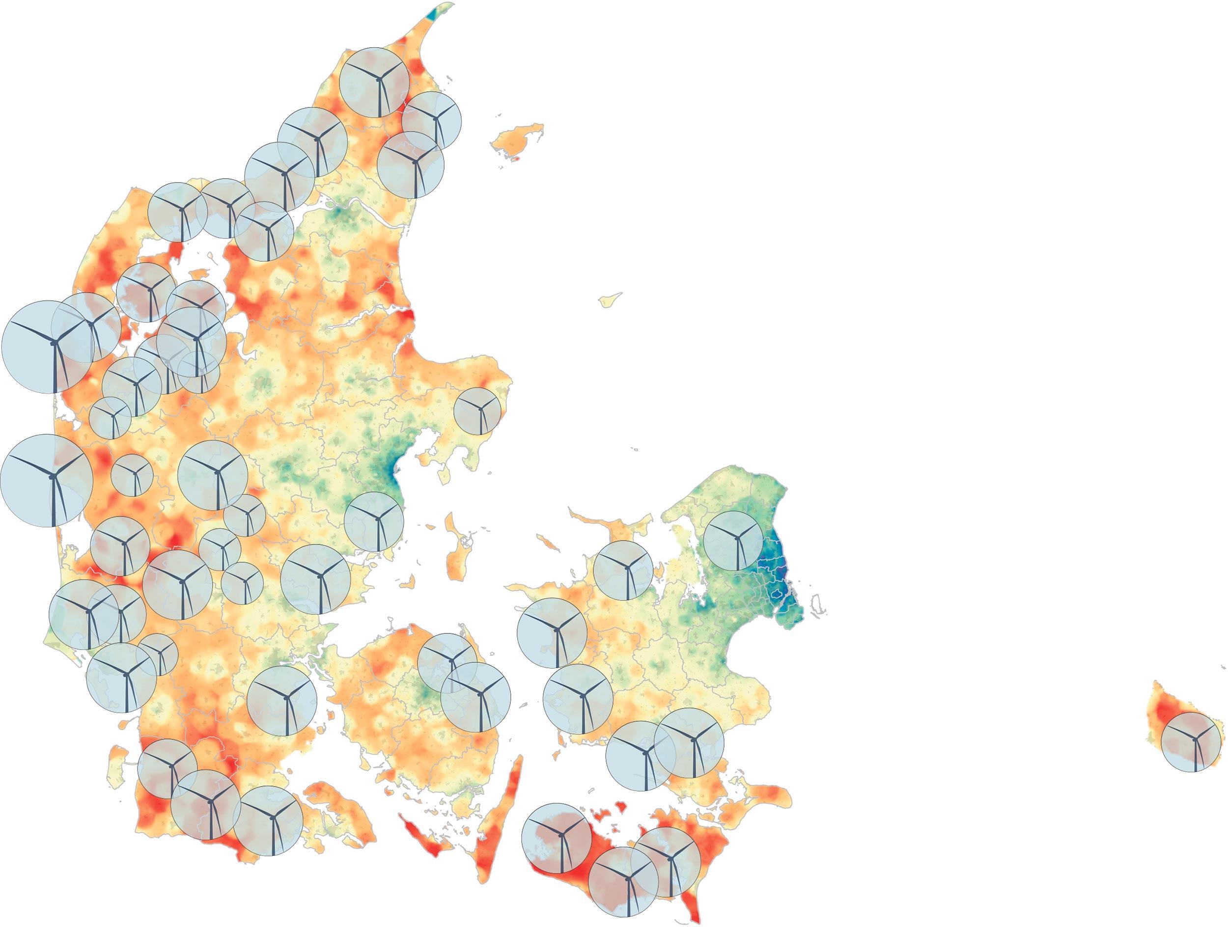 Vindmøller får ofte skylden for de faldende huspriser i landområderne. Sandheden er dog nok snarere, at huspriserne falder på baggrund af nogle langt større strukturelle forandringer i de vestlige samfund. Vindmøller bliver typisk opstillet på i vindblæste og tyndt befolkede områder - områder som ofte er sammenfaldende med landsamfund hvor huspriserne er faldende. På illustrationen er områder med lave huspriser markeret med rød farve.