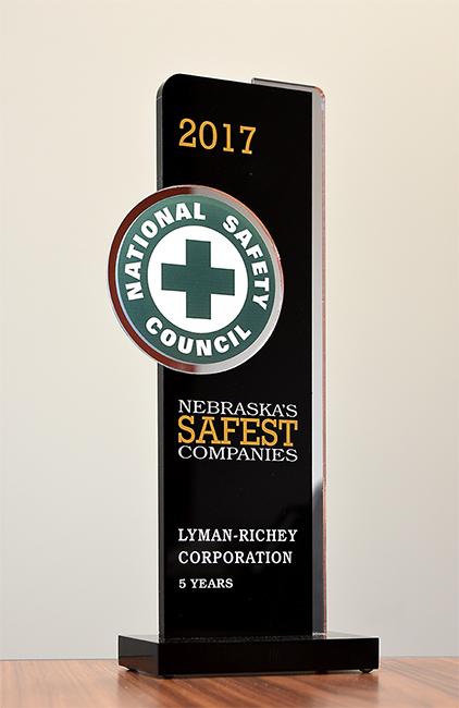 Brady Jones/Lyman-Richey   For the fifth time in a row, Lyman-Richey Corporation was named a Nebraska Safest Company by the Nebraska Safety Council.