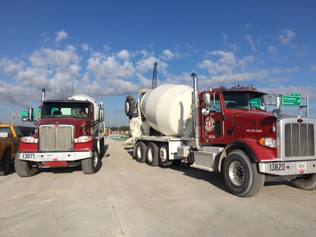 Photos by  MATT MCCANN   Ready Mixed trucks onsite for the I-29/I-80 interchange project between Council Bluffs, Iowa, and Omaha.