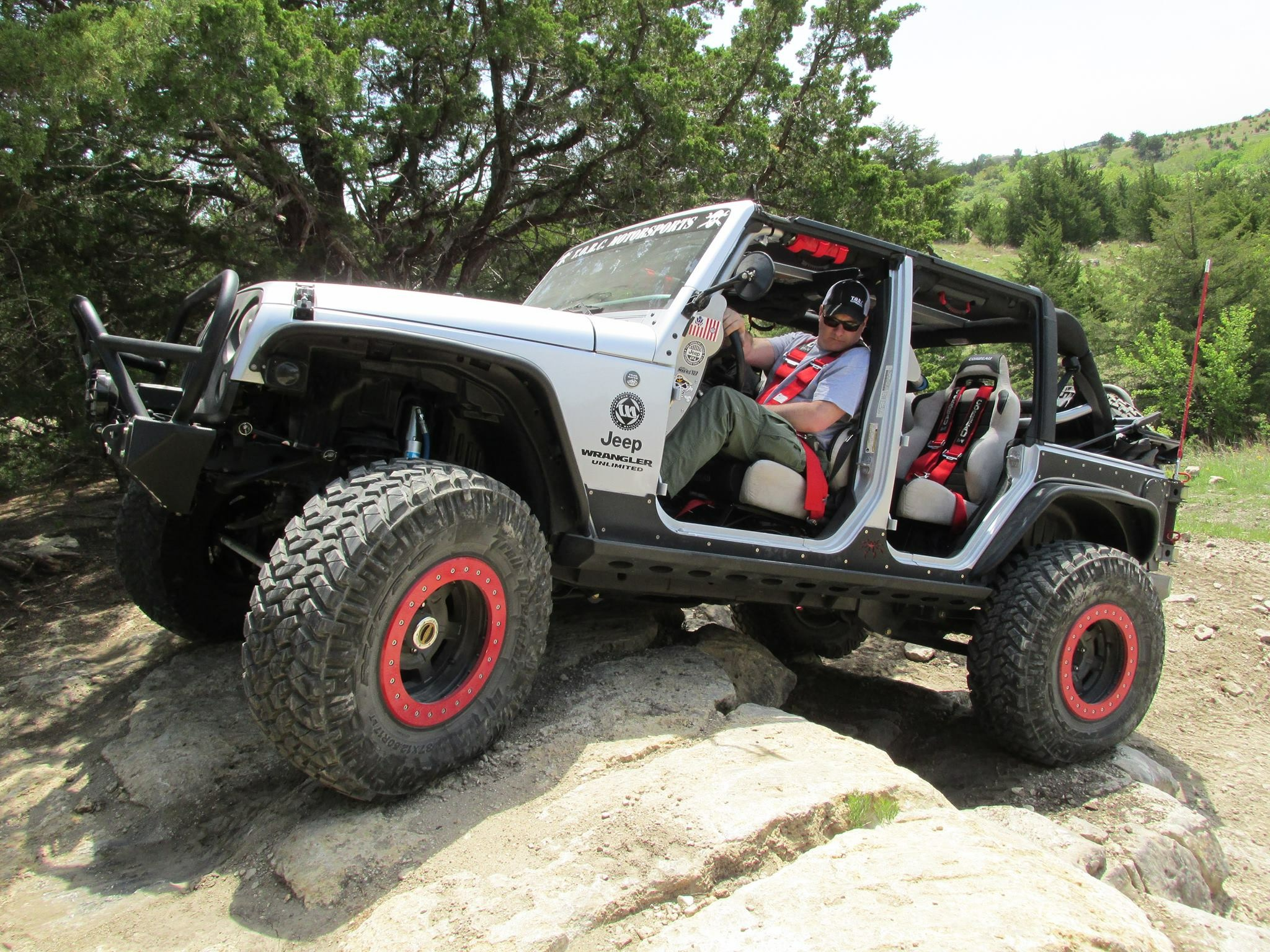 Photo courtesy of ALLEN MYERS  LRC's new Safety Director Allen Myers doing some rock crawling in his Jeep.
