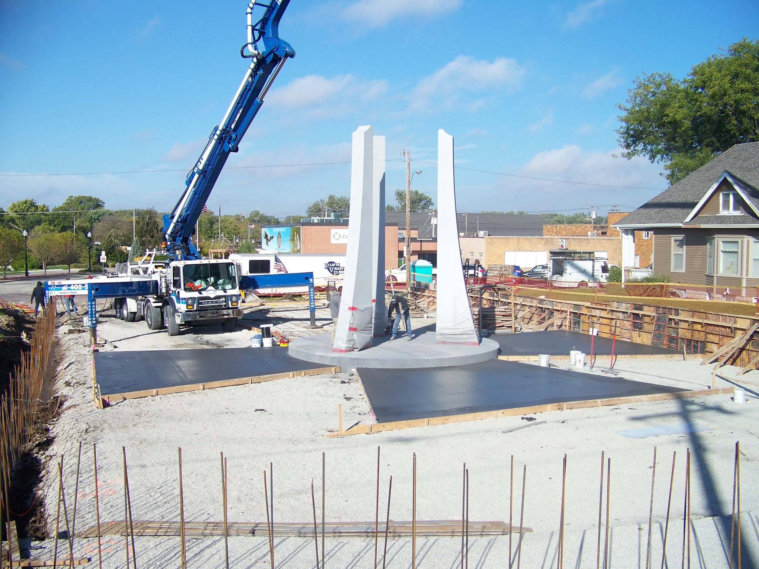 Photo courtesy of the  American Veterans Park     Darker colored concrete was used to inlay a large cross in the foundation of the park.