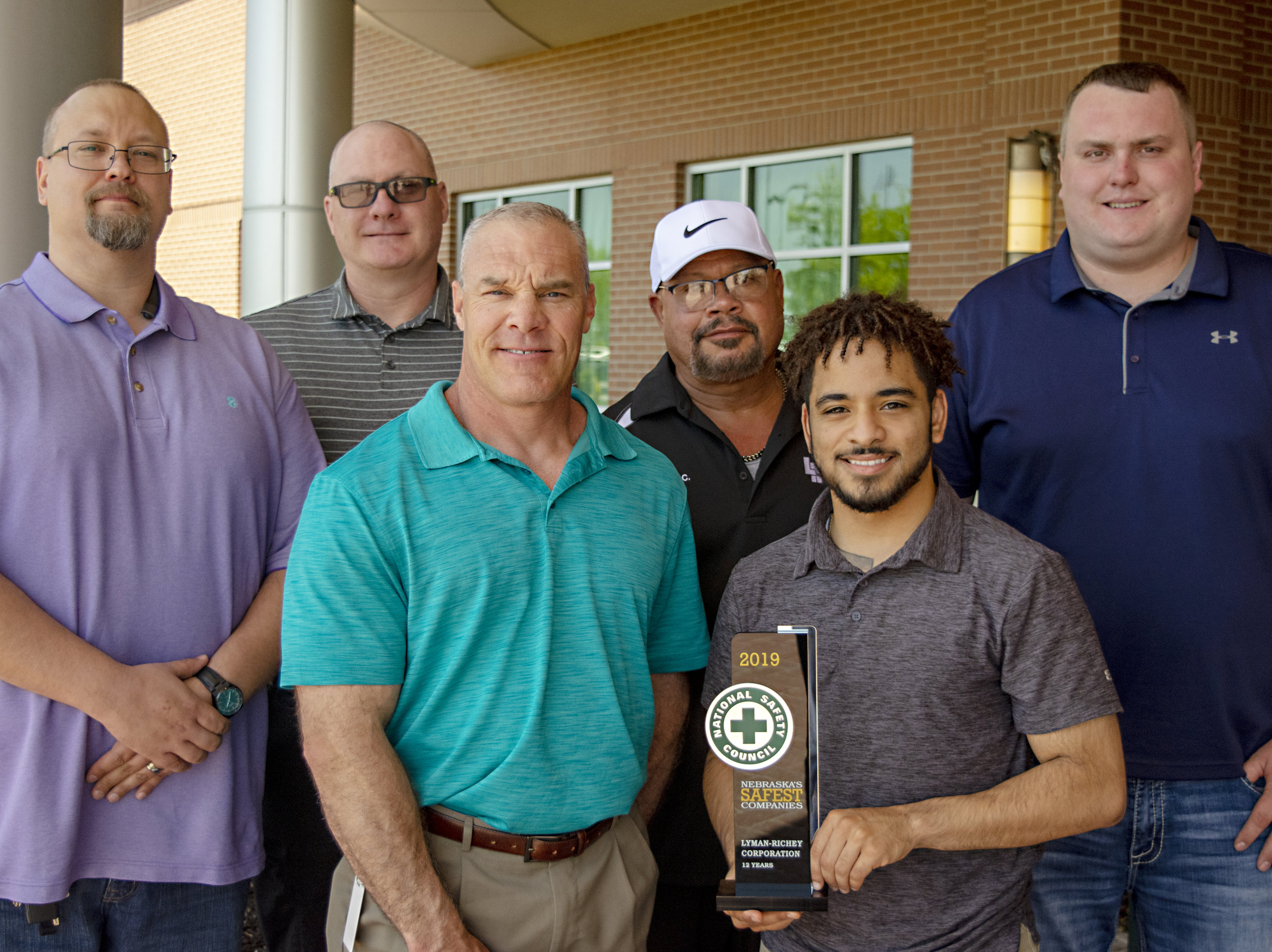Field Safety Specialist Shawn Cassidy, Safety Director Allen Myers, Recruiter Rye Roberts, Safety Administrator George Claxton, Field Safety Specialist Dom Williams, and Field Safety Specialist Peyton Connelly accepted Lyman-Richey Corporation's Safest Company Award on May 15, 2019.
