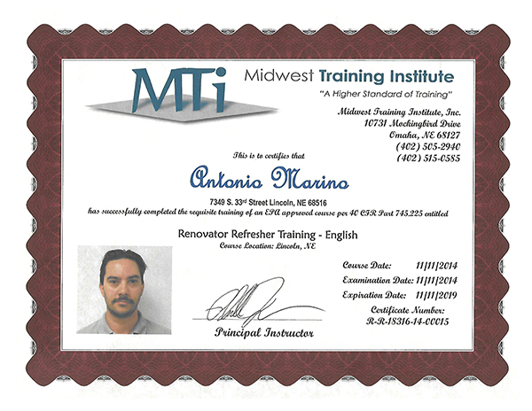 The Paper Puller Midwest Training Institute Certificate