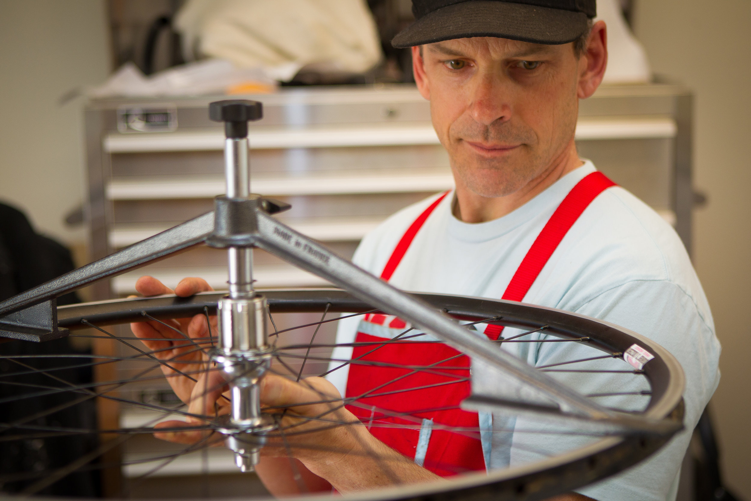 Baker's Dozen Wheel Works started from a passion for wheel building... - I'm a one person operation, currently running the shop out of my garage, like a true artisan.