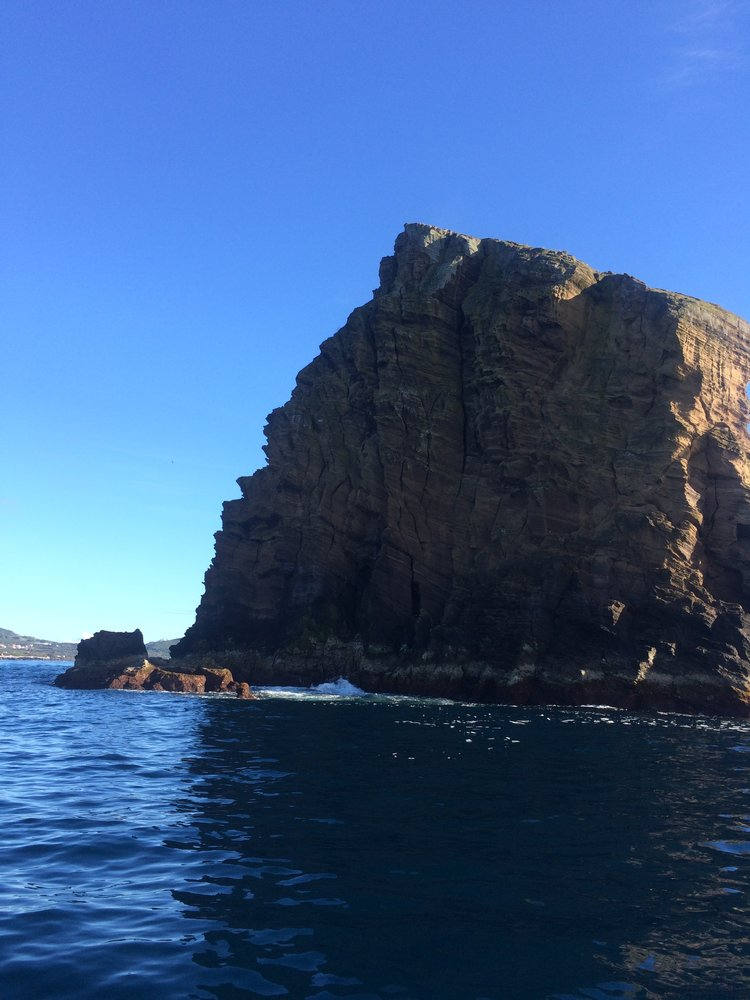 One of the rock islands that serve as a wall for fish to congregate.