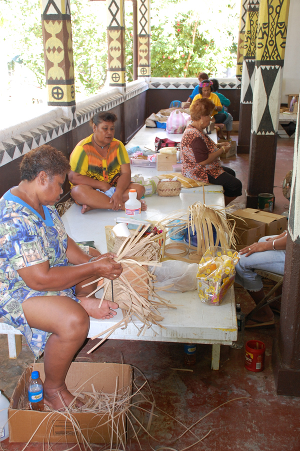 Weaving Baskets at the Senior Center