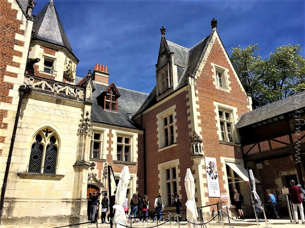 Guests take in the architecture at the Clos Lucé in Amboise, France.