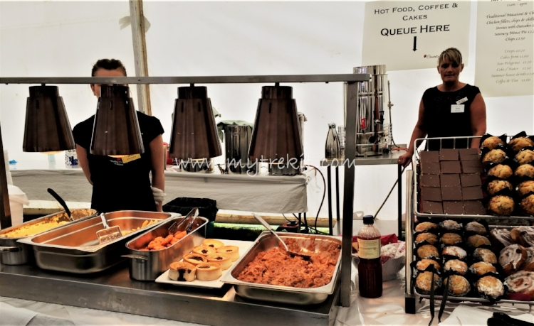 Food tent with hot foods.