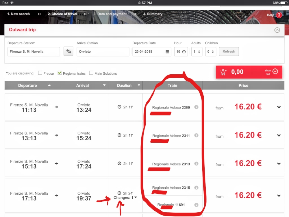 Example result showing only Regional trains are used for this route. The red arrows note any train changes required.