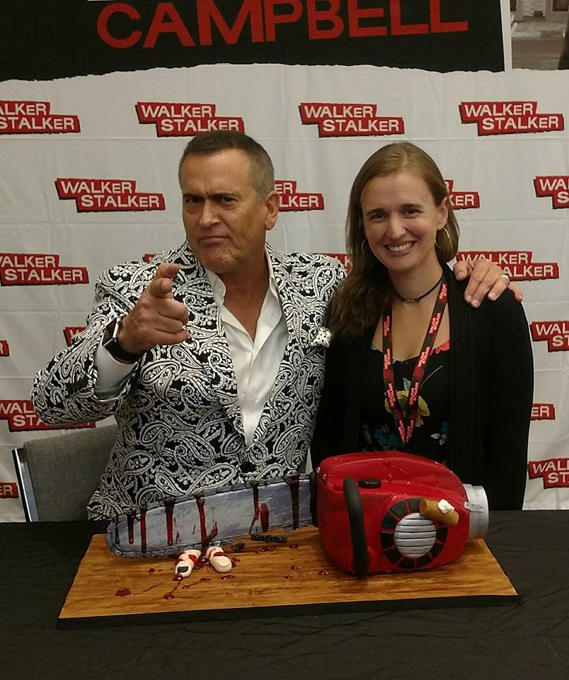 Elizabeth and one of her all time favrite actors bruce campbell