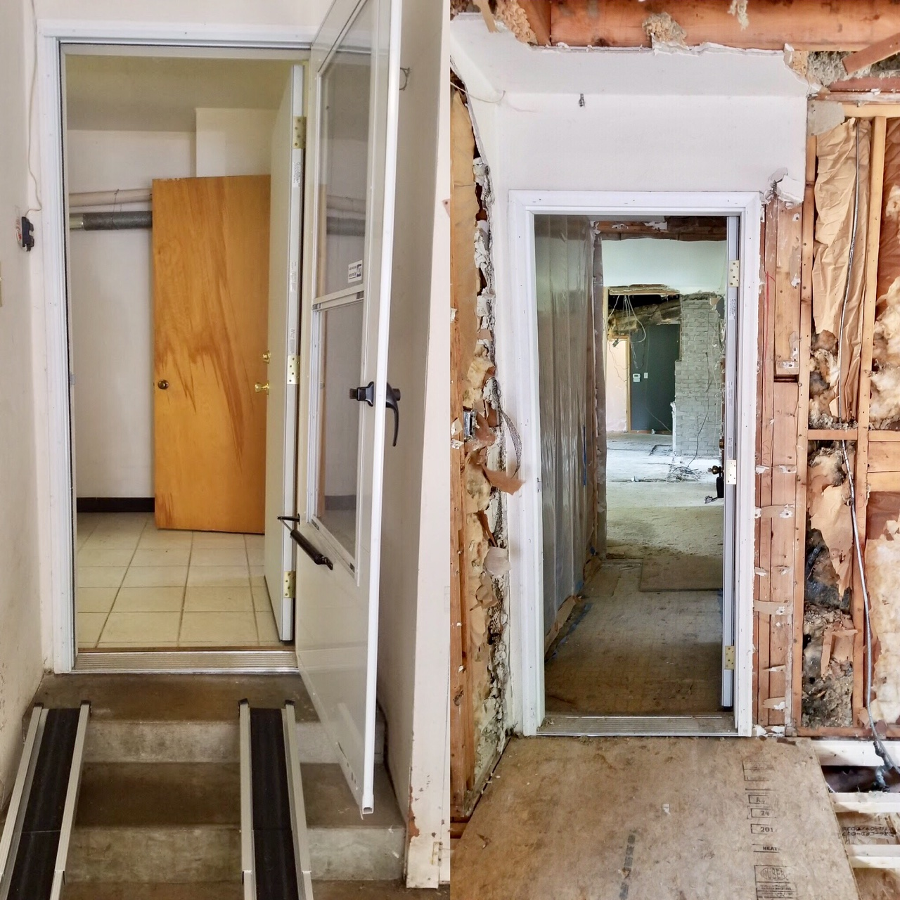 Left: The original garage entry.  Right: We created a hallway that will go straight into the living space off of the Mud Room. No need to snake through the kitchen anymore!   Details: This will all be hardwood flooring. Laundry room is on your left, kitchen on your right.