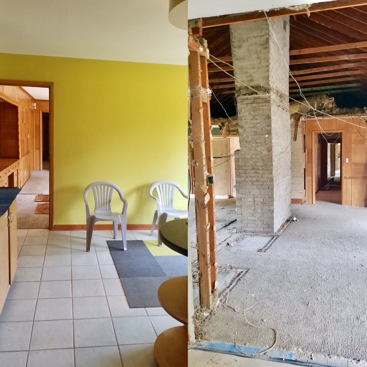 Left: The kitchen and breakfast nook area.  Right: The green wall has been knocked out (and about every other wall) to open up the kitchen to the rest of the living space.  Details: To the right of the chimney will be our dining room. The left of the chimney is our family room. We plan on all hardwood floors, with some type of buffet (where you see that blue tape) to create a little separation between the dining room and kitchen area.