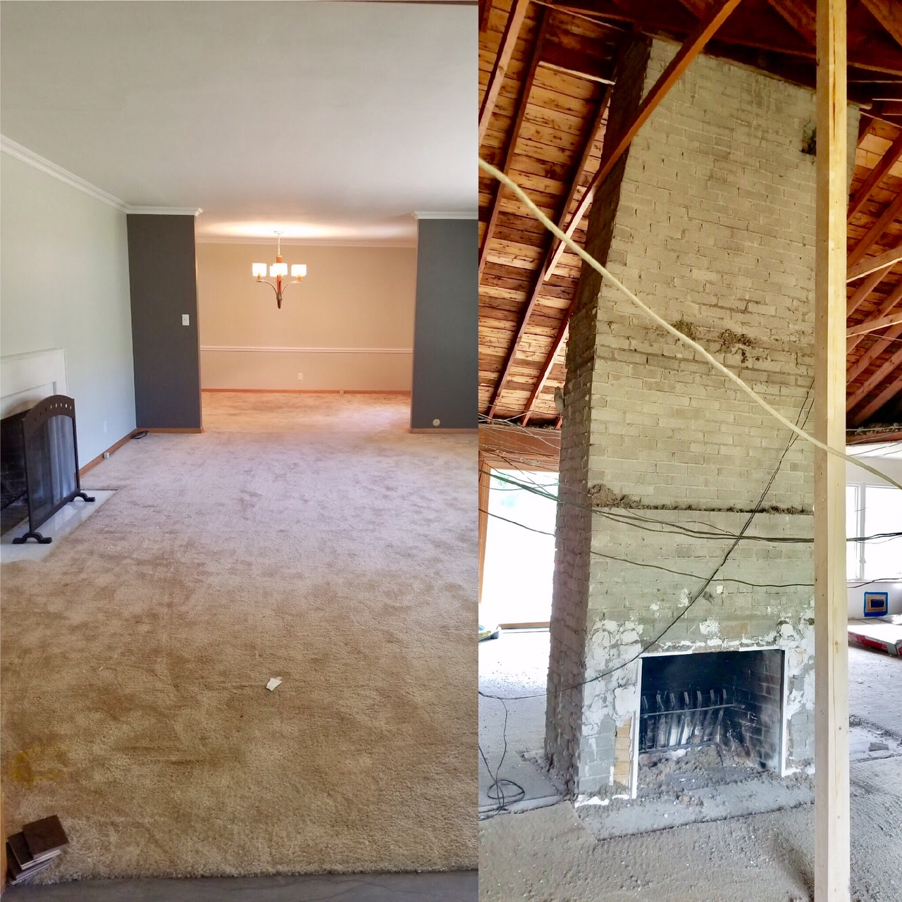 Left: Standing at the front door, looking into the family room and lounge.   Right: The family room with both walls knocked out around the chimney.  Details: Here you get a better idea of how open the space now is. Dining room is behind the chimney. Kitchen and Lounge for off to the right.