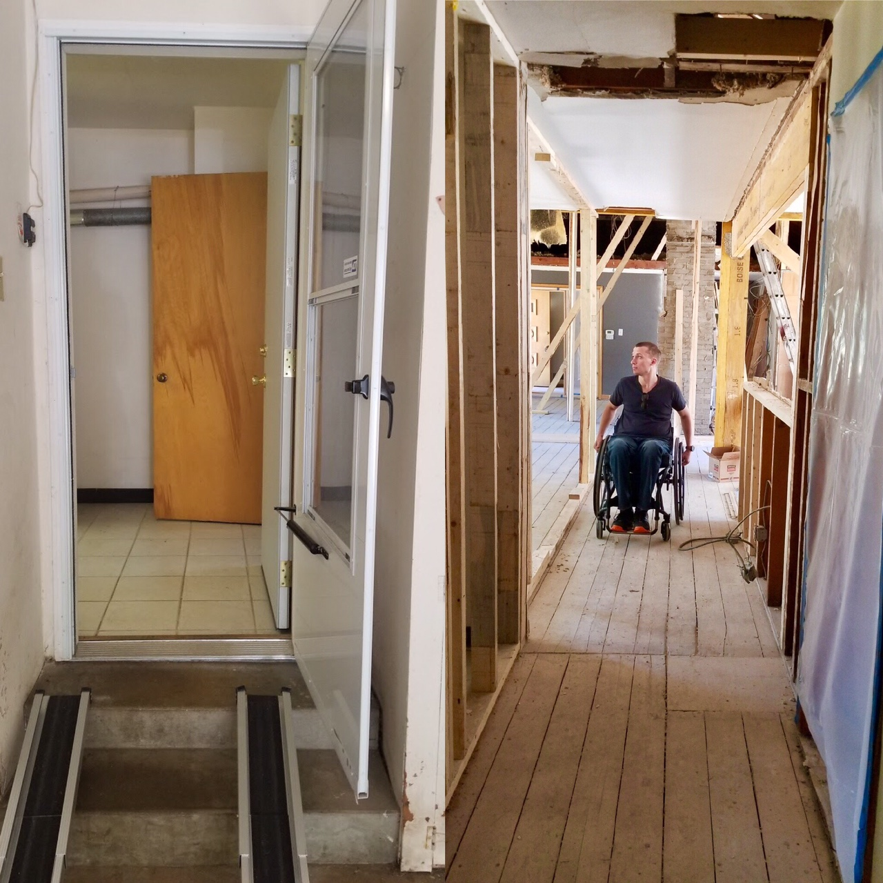 The entry from the garage. We opened up the wall to create a hallway directly into the main living space.