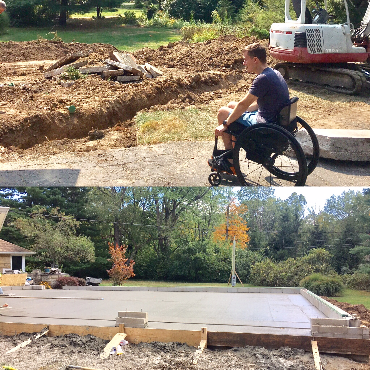 Our driveway will be sloped up to meet the new incline.   We decided to put the garage at an angle in order to conserve our yard.