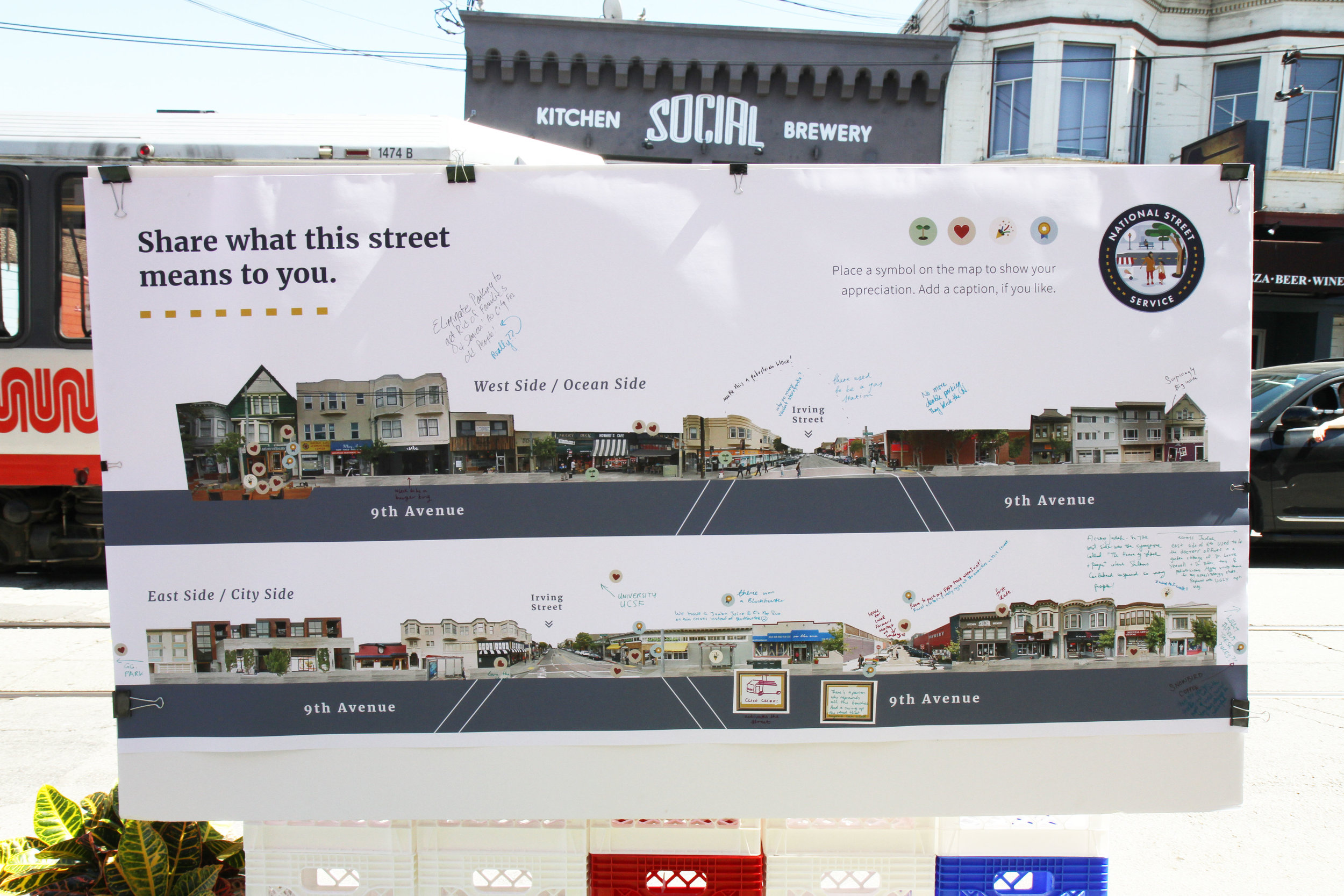 Stories of the Street; 9th and Irving, Inner Sunset. We collected a huge variety of emotions, stories and memories about the street, memorialized on our street board.