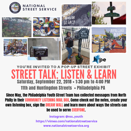 Flyer for the event organized by the National Street Service Youth Team.