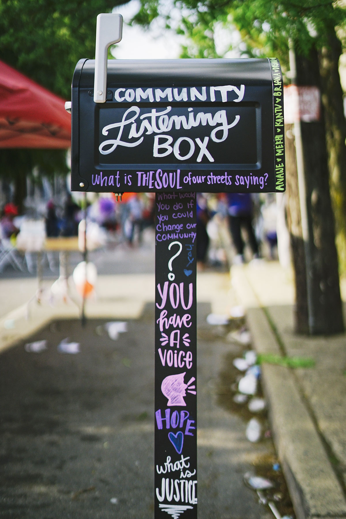 The Community Listening Box, which collected messages of hope from across the community. Some of the notes collected were shared at a street exhibition to invite further community feedback and discussion.  Photo Credit: Ken McFarlane