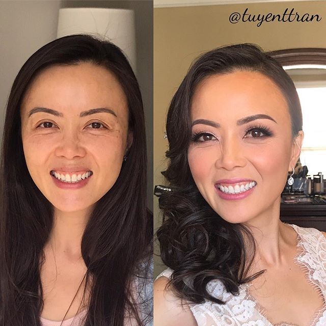 Definitely one of the coolest bride! Love you girl! I'm so grateful to make you up on your wedding day. ❤️ #wedding #weddingday #transformationtuesday #motd #makeover #beforeandafter #nofilterneeded #ocwedding #ocmakeupartist #ochairstylist #makeupbyme #tartecosmetics #narsconcealer #temptuairbrush foundation #westmorebeauty #blush  #bridalmua