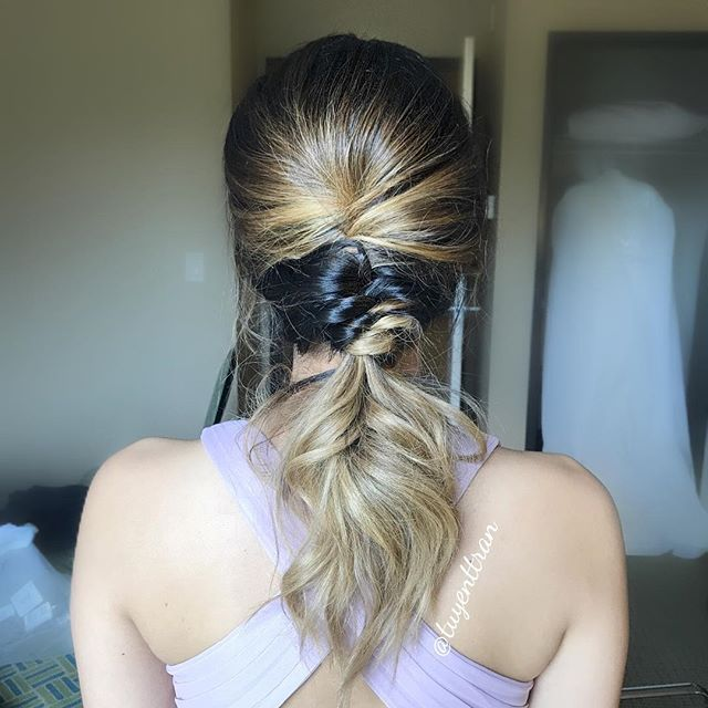 Loving this hair style I did for my client 😍#hairbyme #tuyenttran #ochairstylist #ocmakeupartist #ocwedding #lahairstylist #laweddings #lamakeupartist #hair #bridesmaids #halfuphalfdown #instahair #weddingday #wedding #weddinghair #upstyle #bridesmaidshair #ponytail #texture #softwaves ❤️love working with my girl @glambykimmyv ! #bigsexyhair #kenraprofessional @enzomilanopro