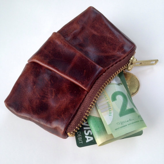 LEATHER COIN POUCH, BROWN -