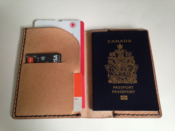 VEGETABLE TANNED LEATHER, PASSPORT CASE -
