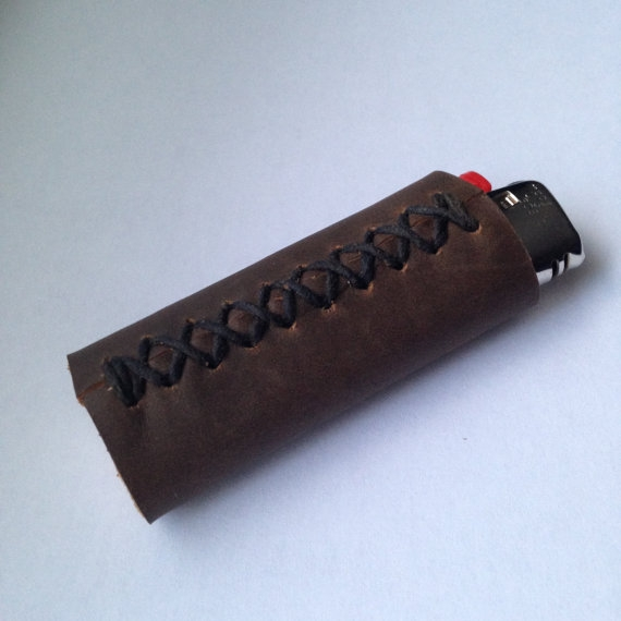 LEATHER LIGHTER COVER, BROWN -
