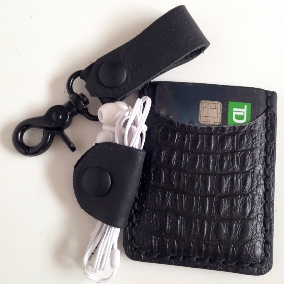 LEATHER EVERYDAY CARRY COMBO, EMBOSSED BLACK -