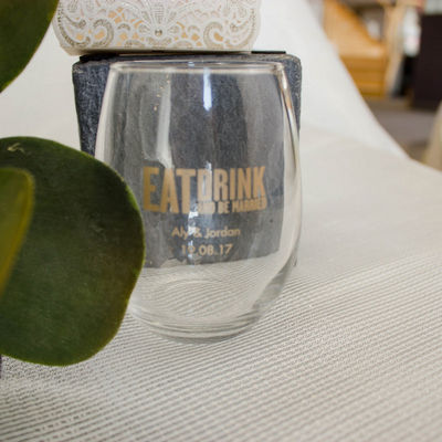 Eat Drink Be Married Wine Glass