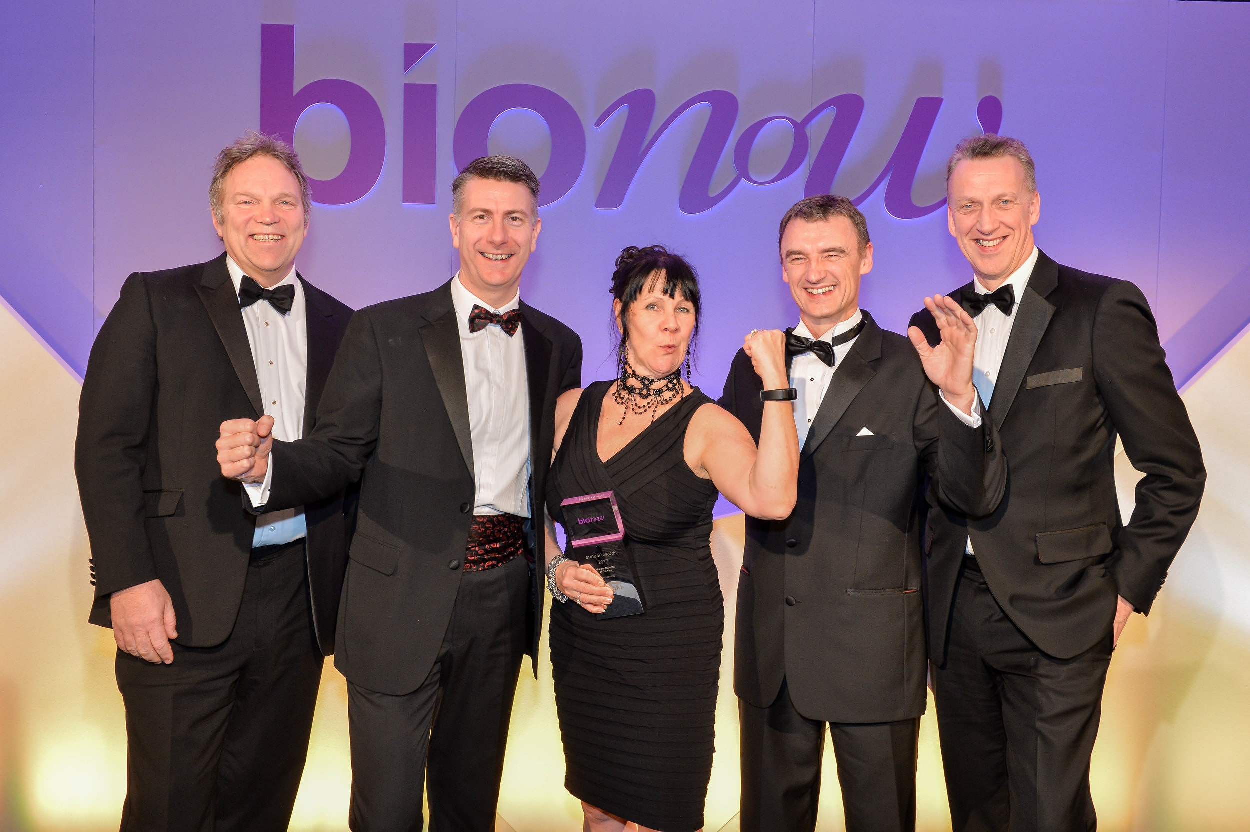 Dr Chris Doherty, Managing Director, Alderley Park with Ned Wakeman, Director, BioHub and ApconiX - winners of Start-Up of the Year Award