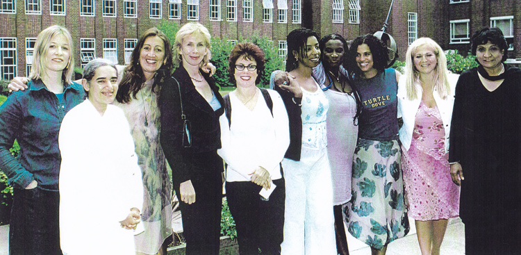 Lynne at SEED EXPO 2003, with B.K. Sister Jayanti, Lucinda Drayton, Trudie Styler, Ruby Wax, Andi Oliver, Neneh Cherry, Vanessa Feltz and Barty Vyas
