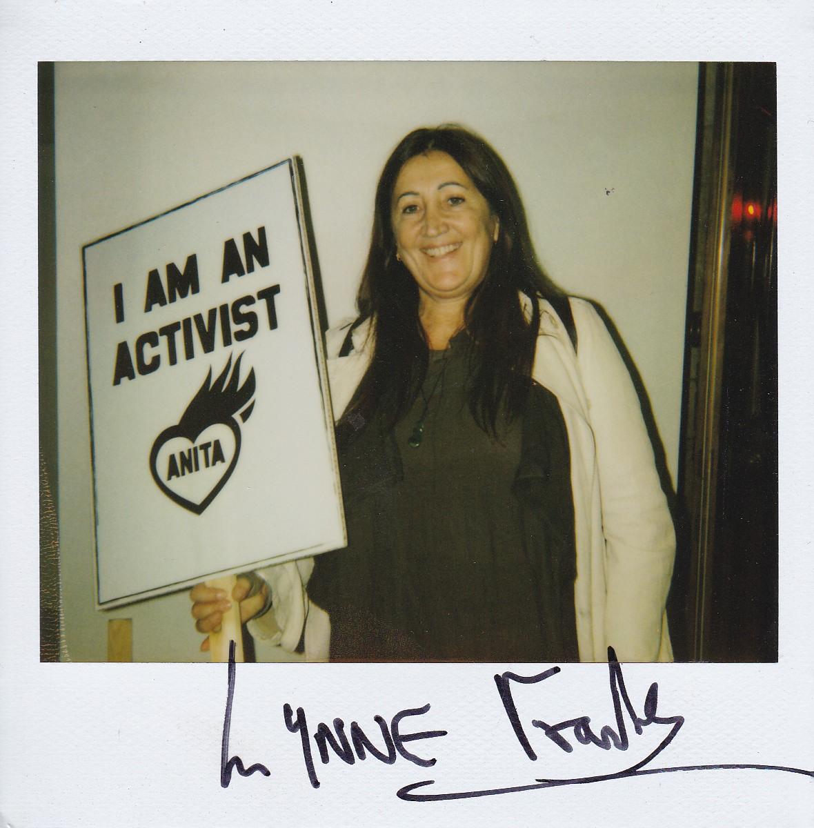 Lynne at her friend Anita Roddick's Westminster memorial