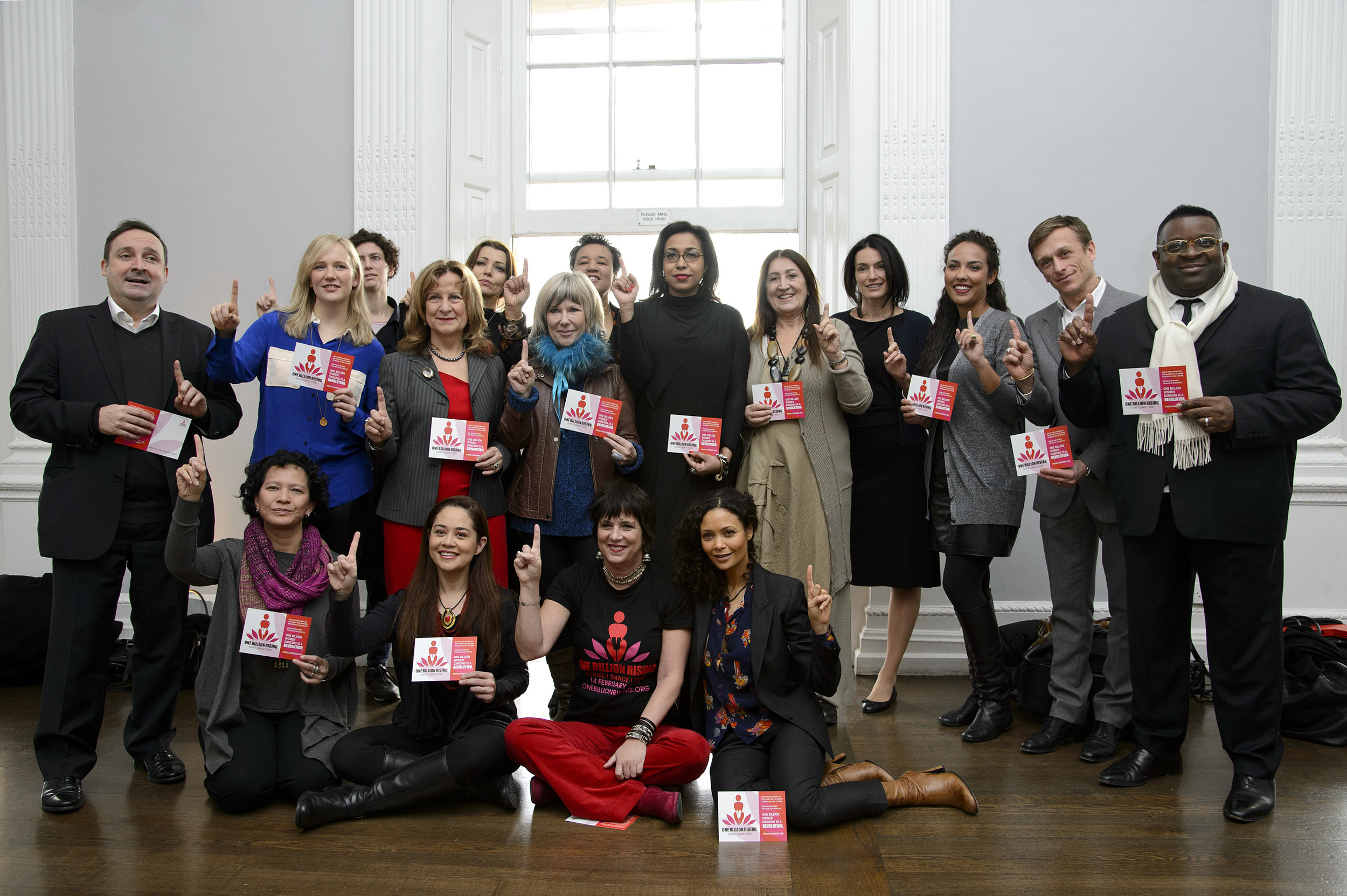 Lynne at the 1 Billion Rising Press Launch with Eve Ensler, Thandie Newton, Monique Wilson, Stella Creasy MP, Baroness Helena Kennedy, Jude Kelly and supporters