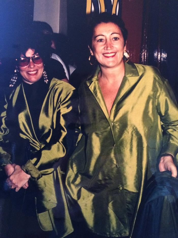 In matching Donna Karan at Harvey Nichols press launch with buddy Ruby Wax
