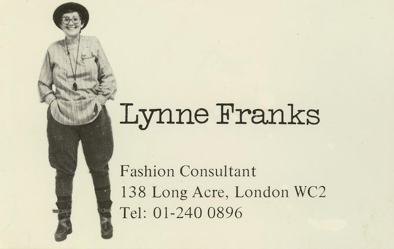 Lynne's first business card, wearing Mrs Howie's best-selling women's land-army breeches