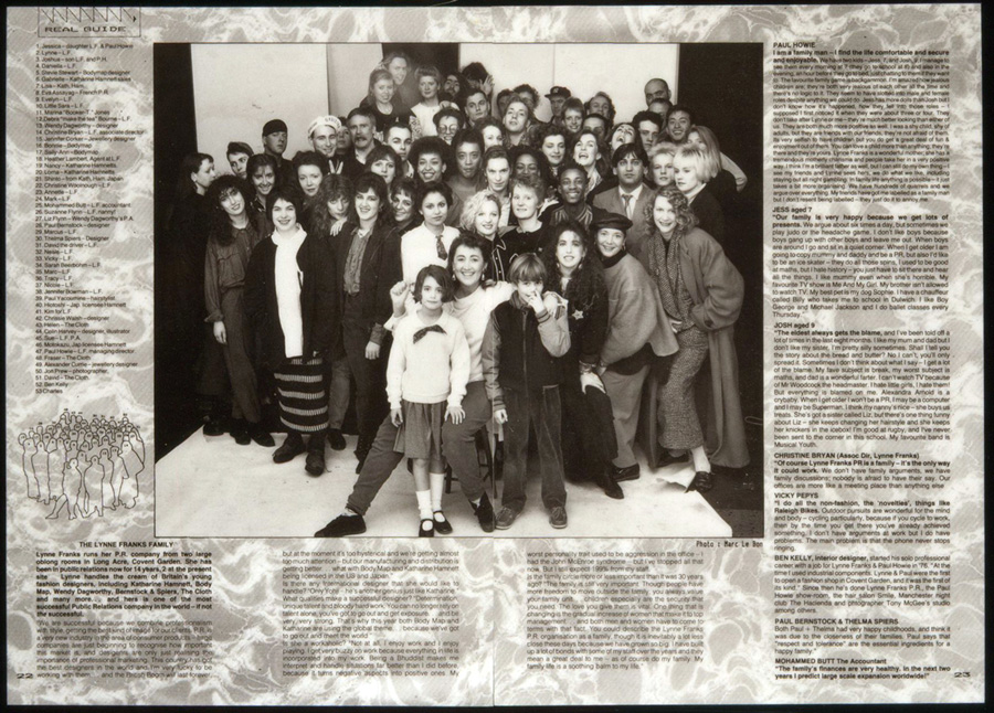 iD Magazine picture of the Lynne Franks and Howie team, friends and family