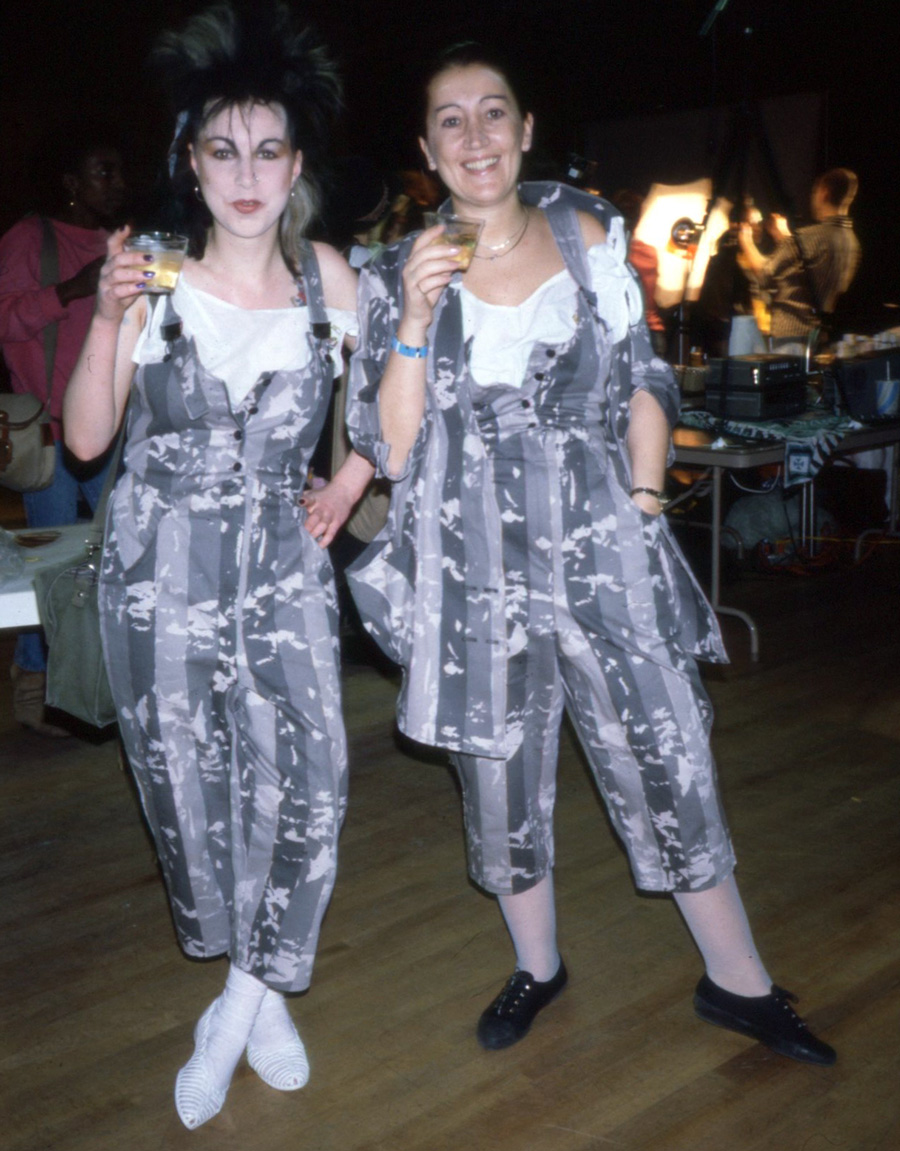 With Boy George's favourite designer Sue Clowes, in matching dungarees