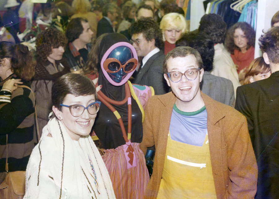 At the launch of her pioneering fashion store, Mrs Howie, with former husband Paul, in 1976