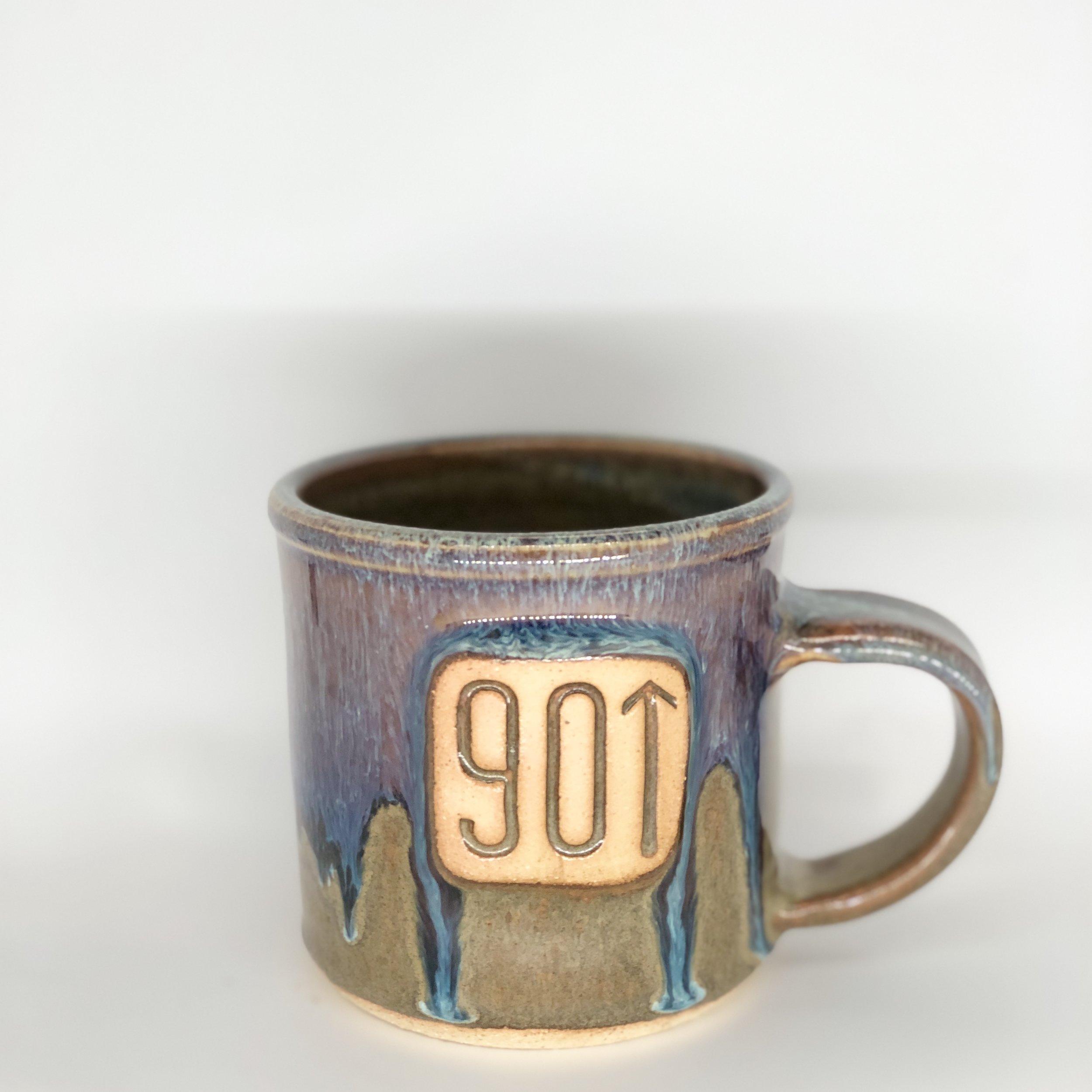 901 with Up Arrow Mug, Short Mug, Blue / Green Color